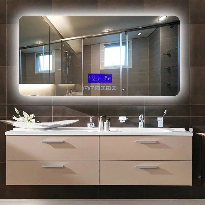 Wall Mounted LED Bathroom Mirror With Radio Fingerprint - Free
