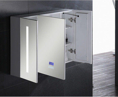 Aluminium Bathroom Medicine LED Mirror Cabinet With Touch Sensor And Defogger