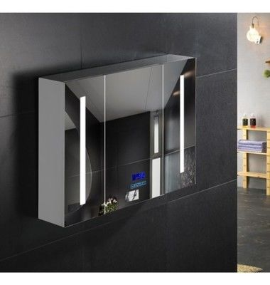 Commercial Illuminated Bathroom Mirror Cabinet Single Door Stainless Steel Mirror Cabinet